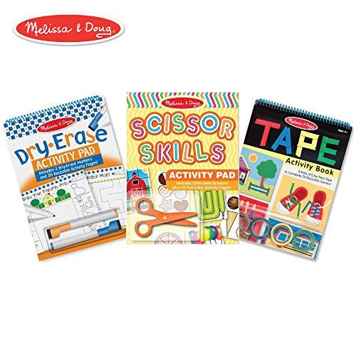 Melissa & Doug Skill-Building Activity Pad 3 Pack -Scissor Skills, Tape Activities, Dry-Erase Fun, ()