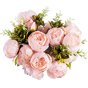 Foraineam Peony Artificial Flowers Home Centerpiece Decor Silk Fake Peonies Wedding Bouquets, Pack of 2 (Spring Pure Pink) 3