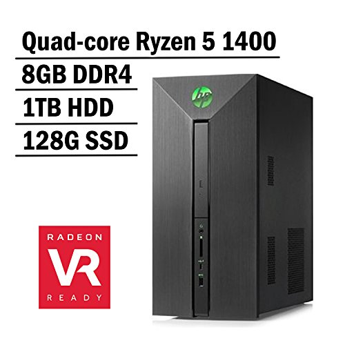 HP Pavilion Power Gaming Desktop Flagship VR Ready Edition AMD Quad-core Ryzen 5 1400 | 8G DDR4 | 1TB HDD + 128G SSD | VR-ready AMD Radeon RX 580 4G graphics | Windows 10 by HP