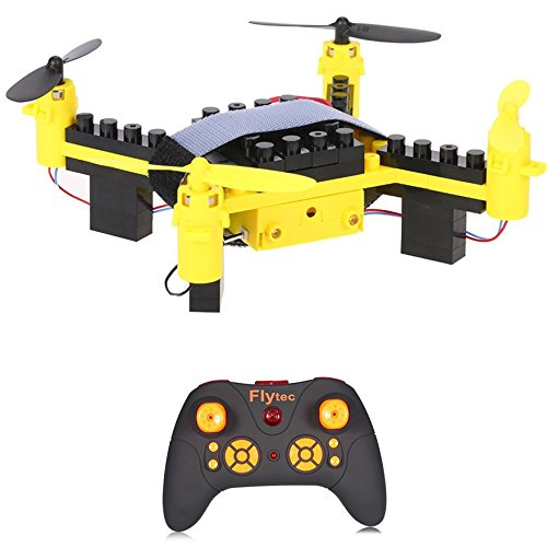 Helicopter Block - Flytec T11 DIY Building Blocks Drone Helicopter 2.4G 4CH Mini Drones 3D DIY Bricks Creative Quadcopter DIY Educational Toy (Yellow)