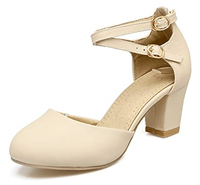 ca108d8c6e54 Sfnld Women s Sweet Round Toe Cross Buckle Strap Medium Block Heels Pumps  Shoes Beige 4 B