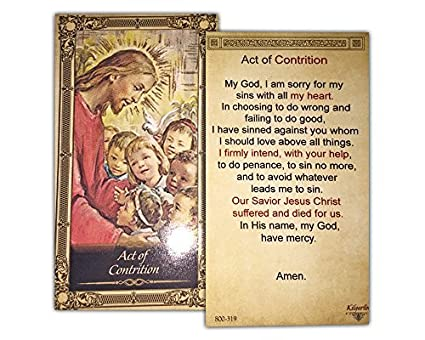image relating to Act of Contrition Prayer Printable titled Act of Contrition Laminated Prayer Card