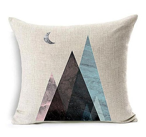 Geometric triangles Mountains and Moon Cotton Linen Throw Pi