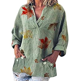 Women's Casual Leaves Print  Long Sleeve Linen Solid Top Plus Size Print Shirt Blouse