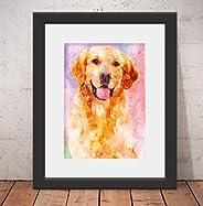 Quadro Decorativo Poster Cachorro Labrador - Vidro & Paspatur 46x