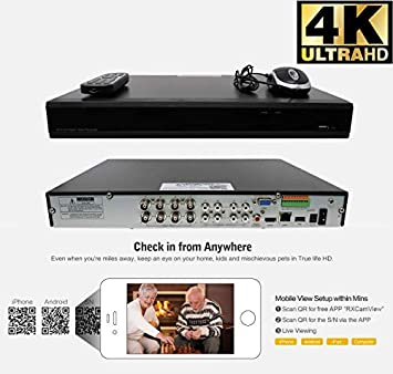 GW 8-Channel 4K H.265 Complete CCTV Security System with 8 x HD 8MP 2160P Outdoor Indoor 2.8-12mm Varifocal Zoom 4K Bullet Security Cameras and 3TB HDD, QR Code Scan Free Remote View