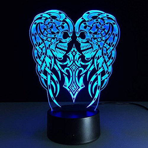 USB Novelty KIDS Sugar Skull Lovely 3D Lamp Besides Lights Elsa ANNA LED Nightlight Table Lampara with Touch Lamp Base (Tattoo Skull Pic compare prices)