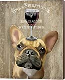 Dog Au Vin, French Bulldog by Fab Funky Canvas Art Wall Picture, Museum Wrapped with Nutmeg Sides, 22 x 28 inches