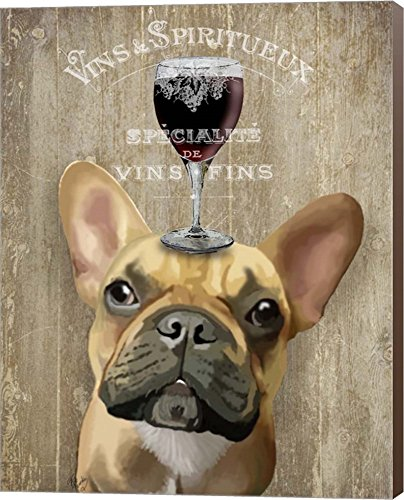 Dog Au Vin, French Bulldog by Fab Funky Canvas Art Wall