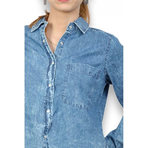 Tiffosi–Camisa en Jean–mujer camisa de Jean lavada Courte y femenino Azul