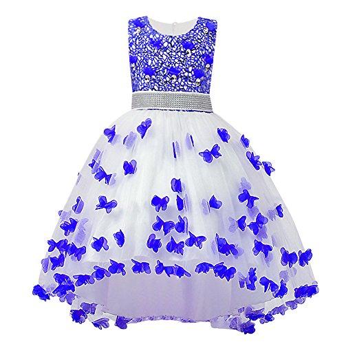 HUANQIUE Girls Wedding Pageant Dress Hi-Low Lace Bridesmaid Flower Girl Dresses Blue 7-8 (Kids Dress Shopping)