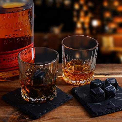 Bold Antler Whiskey Stones Set | Bar Accessories with Shot Glasses, Coasters and Granite Cubes in Wooden Box | No Ice Melt Bourbon, Scotch, Brandy Glass | Best Birthday or Anniversary Gift for Men by Bold Antler (Image #4)