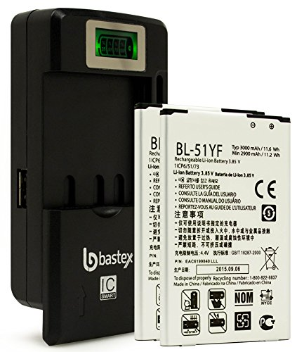(Two Bastex Replacement Batteries for LG G4 3000mAh BL-51YF. Includes External Dock LCD Battery Charger. Made for H815 H811 H810 VS986 VS999 US991 F500 LS991)