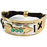 Western Peak Western Tritone Hammered Plate Arrow Turquoise Leather Cuff Bracelet (Gold)