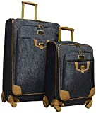 Nicole Miller Paige Collection 2-Piece Expandable Spinner Luggage Set: 28'' and 20'' (Silver)
