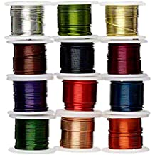 Zebra Wire Colored Copper Wire for Wire Wrapping 12 Pack 24 Gauge 5 Yards of Each Color
