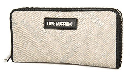 JC5516PP15LD Logo 100b article femme Argento Moschino Love LOGO Nero CANVAS Portefeuille NATUR PU nUTICqAxw