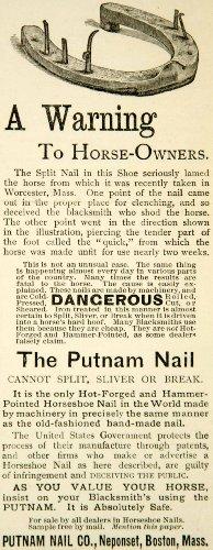 1890 Ad Putnam Nail Boston Massachusetts Horseshoe Forgery Animal Neponset Tool - Original Print Ad from PeriodPaper LLC-Collectible Original Print Archive