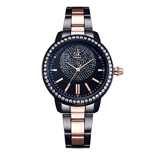 Amazon.com: SHENGKE SK K0075L Luxury Womens Watches Waterproof Diamond Watches for Ladies (Black): Watches