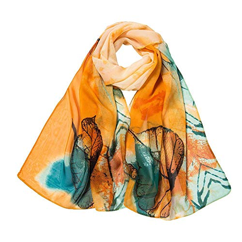 CHIDY Scarves Fashion Women Leaves Printing Long Soft Wrap Scarf Ladies Shawl Scarves(Yellow)