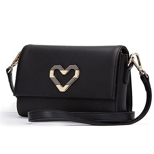 Crossbody Cowhide Shoulder Woman for bag Gift Women Valentine's Messenger bags LAORENTOU Bag Black Purse Leather EwqU4R