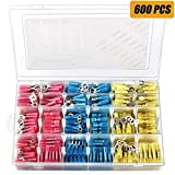 600 PCS Heat Shrink Wire Connectors Terminals, Camtek Waterproof Butt Connectors Electrical Insulated Crimp Terminals Marine Automotive Wire Connectors
