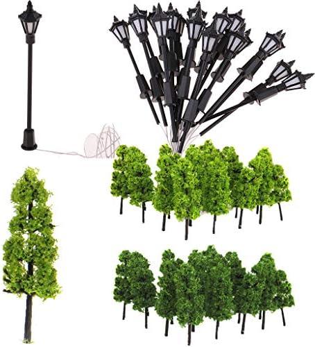 dailymall 20ピース1:100塔の木モデルと街路灯鉄道の風景