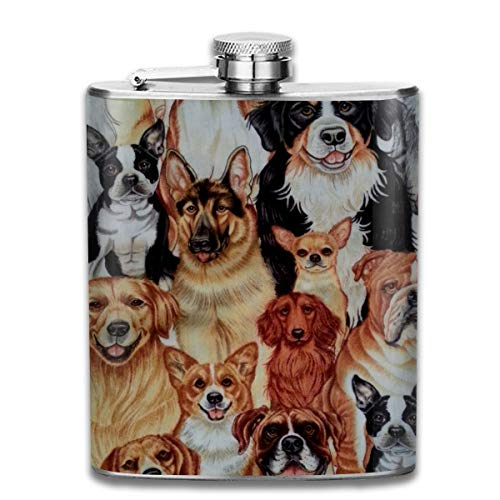(Dog Collage Novelty Fashion Portable Stainless Steel Hip Flask Whiskey Bottle for Men and Women 7 Oz)