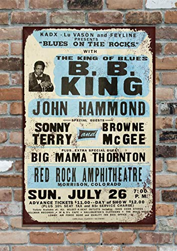 The Shizzle Print Co BB King Concert Poster 10x8 Retro Vintage Metal Advertising Sign ()