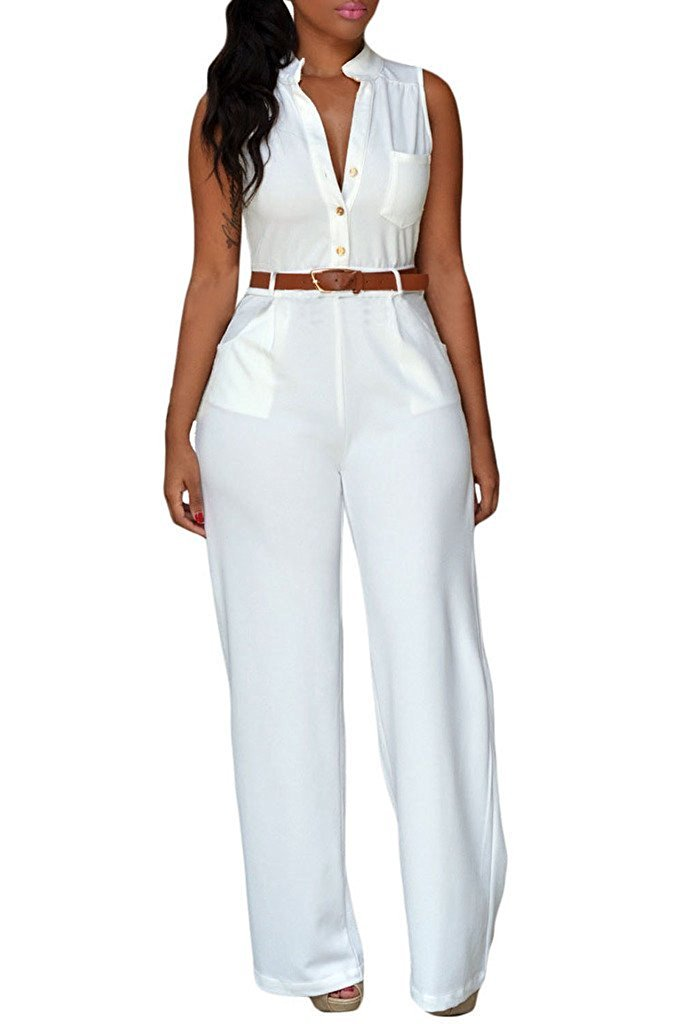 roswear Women's Sexy Plunge V Neck Belted Wide Leg Jumpsuits Romper White Large