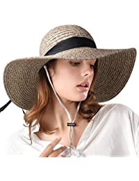 Womens Sun Straw Hat Wide Brim UPF 50 Summer Hat Foldable Roll up Floppy  Beach Hats ea4101fada30
