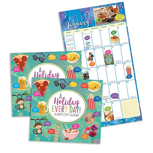 2 Count 16 Month Holiday Everyday! Calendar Includes September 2018-December 2019. Wacky and Unique Holidays for Everyday