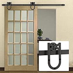 Belleze 6-FT Antique Country American Barn Wood Steel Sliding Door Style, (Frosted Black)