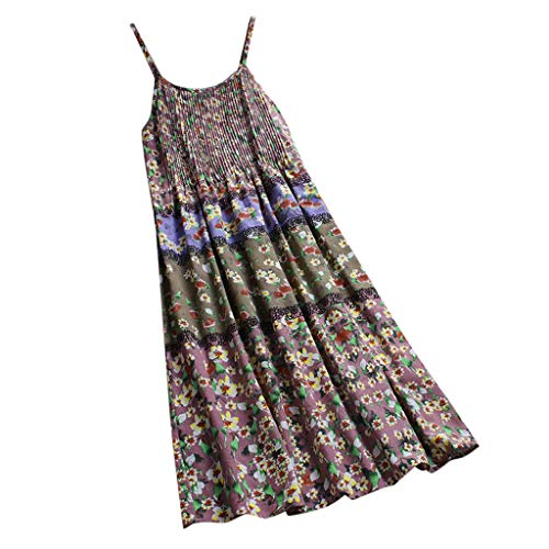 Women Vintage Bohemian Print Floral Sleeveless O-Neck Straps Maxi Dress Pink -