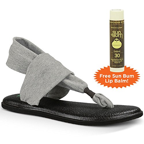 Sanuk Yoga Sling 2 Sandals with FREE Sun Bum Coconut Lip Balm, Grey, Size 9 B(M) US