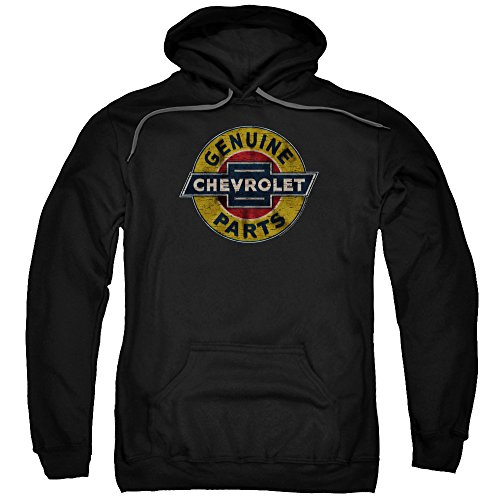 Chevrolet Genuine Chevy Parts Distressed Sign Unisex Adult Pull-Over Hoodie for Men and Women, Large Black
