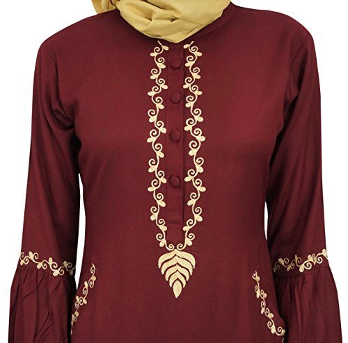 Mädchen Frauen mit Arbeit Bimba Jilbab islamischem Hijab 36 Maroon Abaya Aari Kleid Muslim 5d118w