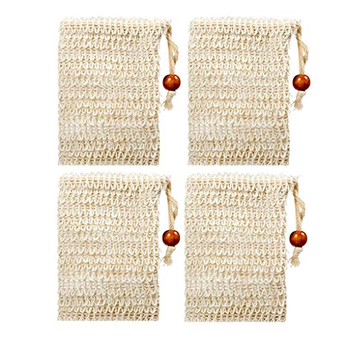 Price comparison product image AfazfaNatural Soap Bag Sisal Soap Net Soap Bags with Rope for Foam Covers Exfoliation Beige