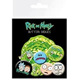 Set: Rick And Morty, Characters, 4 X 25mm & 2 X 32mm Badges Badge Pack (6x4 inches) And 1x 1art1® Surprise Sticker