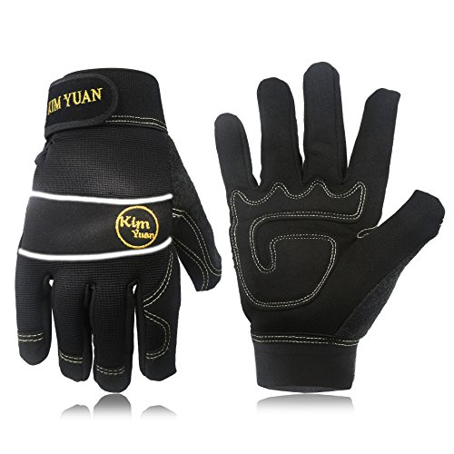 KIM YUAN Mechanic General Utility Breathable Work Gloves Touch Screen, Skid/Abrasion Resistant, Pefect for Warehouse, Construction, Outdoor, Men & Women, Large by KIM YUAN