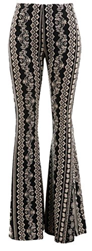 Daisy Del Sol High Waist Gypsy Comfy Yoga Ethnic Tribal Stretch 70s Bell Bottom Flare Pants (Medium, Black/Taupe)
