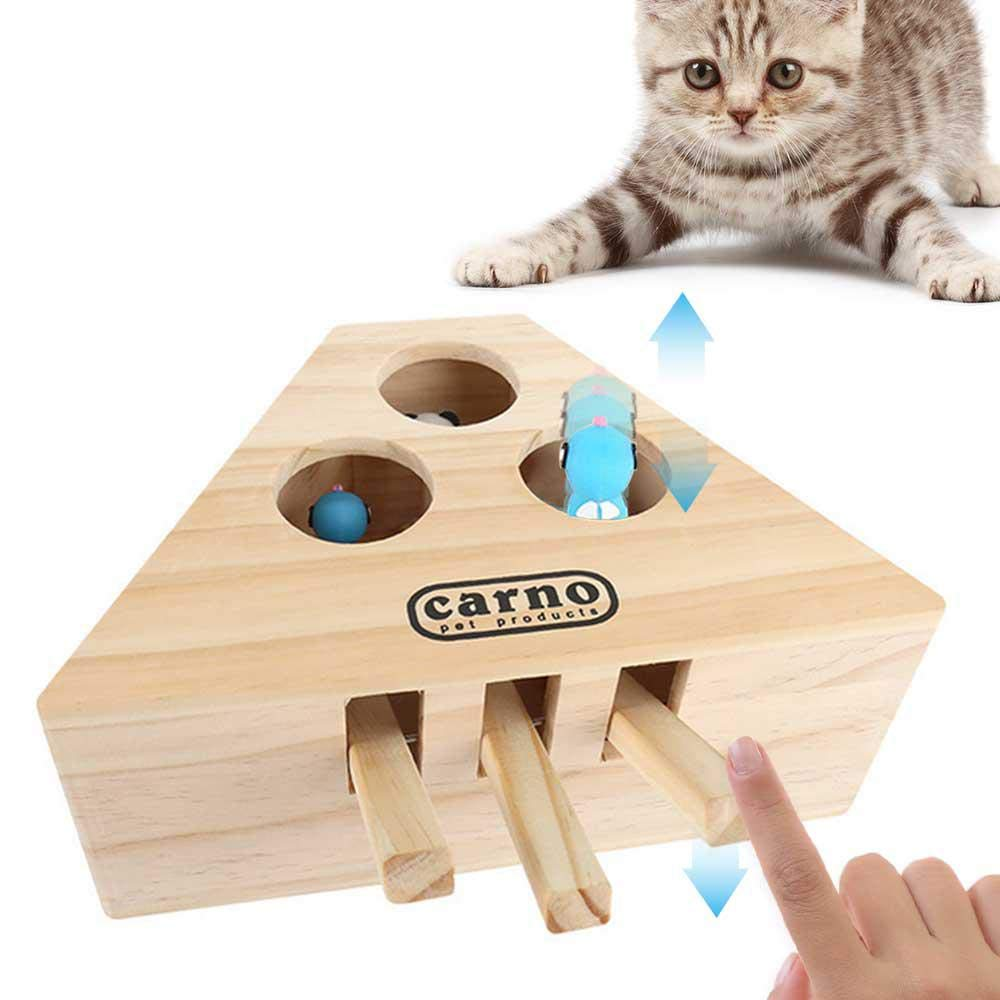 Volwco Cat Hunt Toy Cat Interactive Exercise Toys Wooden Puzzle Box Whack A Mole Mouse Cat Punch Game by Volwco