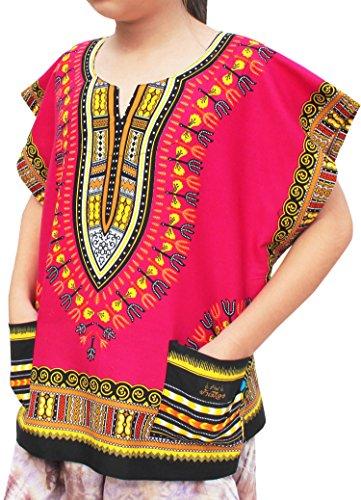 Raan Pah Muang Childs Unisex African Dashiki Kaftan Shirt - XS to L, 6-8 Years, Pink ()