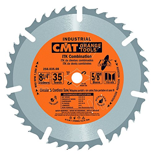 CMT 256.035.08 ITK Industrial Combination Saw Blade, 8-8-1/4-Inch x 35 Teeth 1FTG+4ATB Grind with 5/8-Inch<> Bore ()