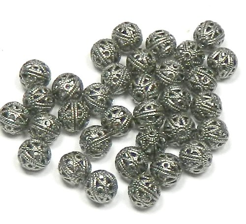 100 Open Weave 6mm Beads Antiqued Silver-plated Brass, Round Spacer Metal Bead Pkg of 100 ()