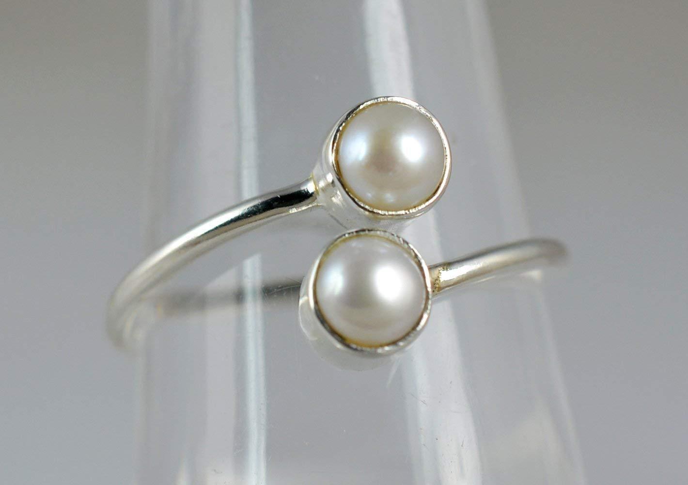 Perla de agua dulce genuina 925 hecho a mano de plata esterlina sólida anillo tamaño 4 a 29 ES