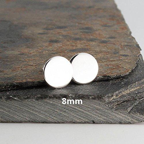 925 Sterling Silver Stud Earrings Flat Disc 8mm by Fashion Art Jewelry