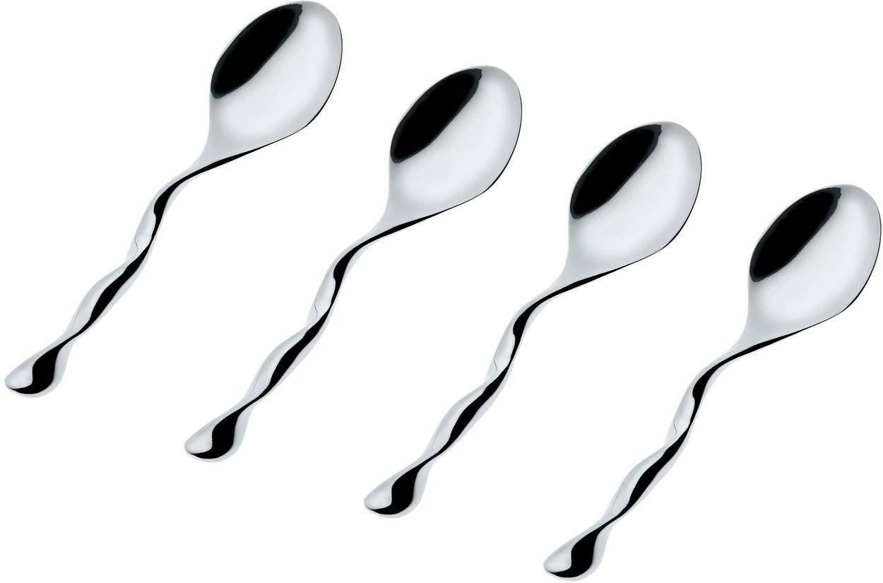 Officina Alessi Il Caffe'Alessi Coffee Spoons, Set of 4, Silver