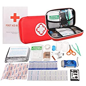 First Aid Kit Portable Waterproof 91 Pack Necessary Hospital Grade Medical Supplies for Emergency Survival Situations…