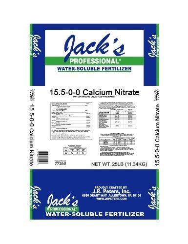 Fertilizer Nitrate Nitrogen (Jacks Calcium Nitrate 15.5% Nitrogen 18% Calcium 25lb bag Jack's Professional)